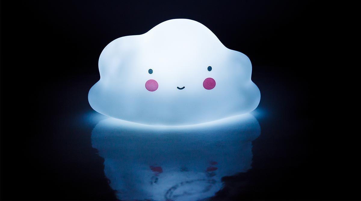Veilleuse nuage lumineux blanc souriant avec les joues roses